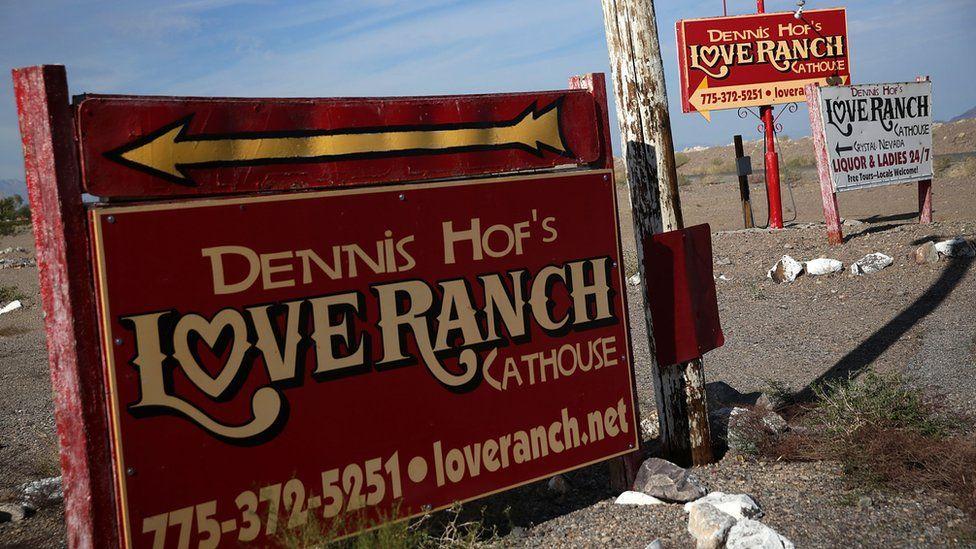 Sign for Dennis Hof's Love Ranch