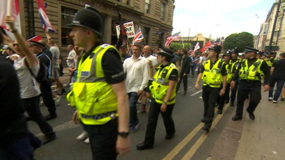Police escorting a protest in Leeds