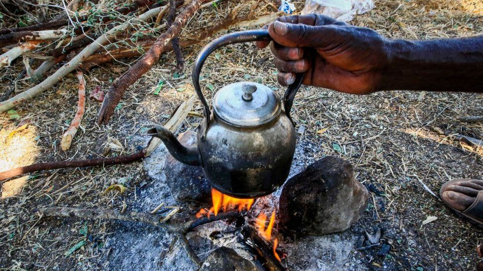 Cooking in a refugee camp