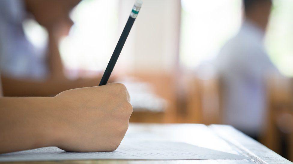 Student takes exam