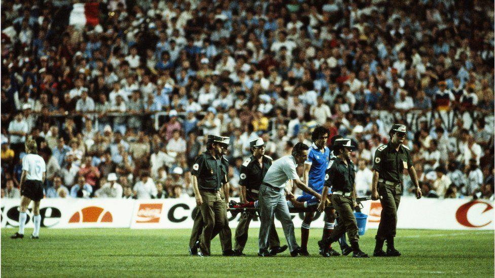 Patrick Battiston being stretchered off in the 1982 World Cup semi-final