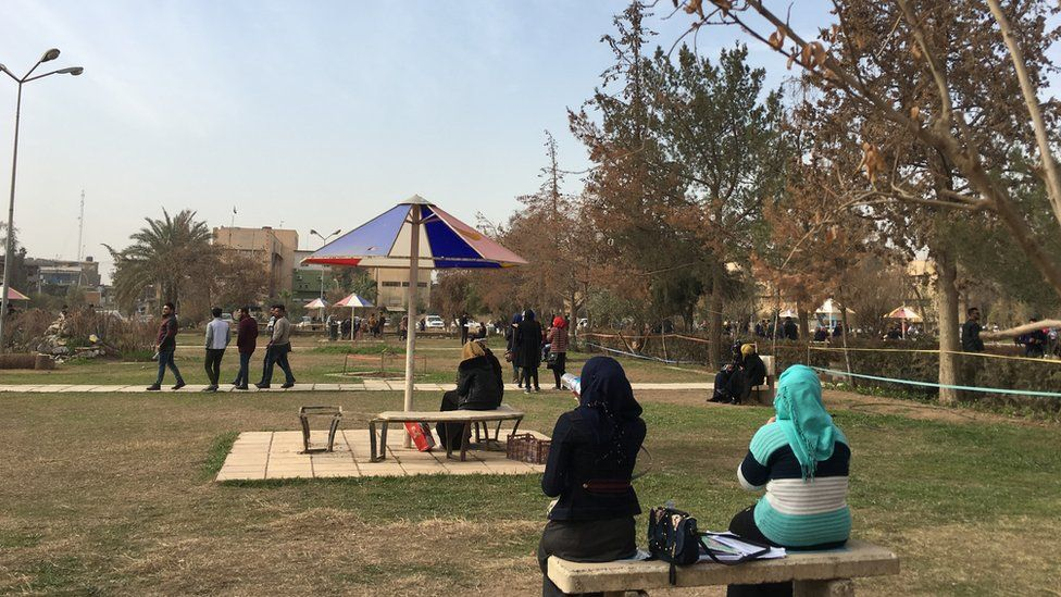 Students in their break at Mosul University