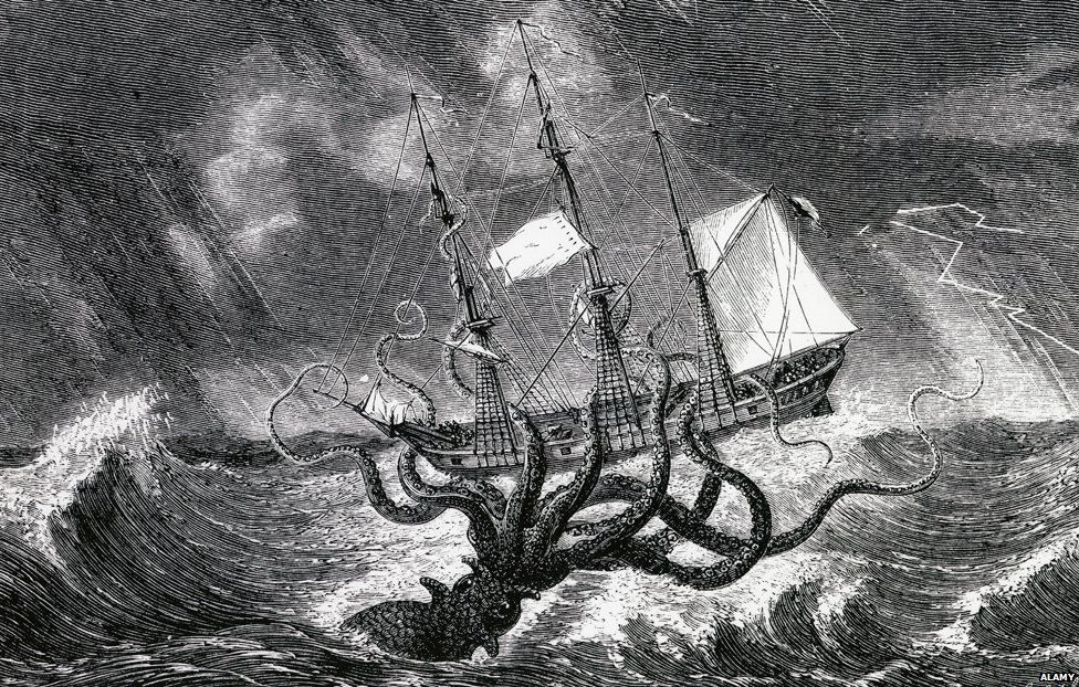 The Kraken depicted as a giant squid