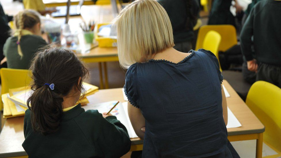 Pupil and teacher (generic)