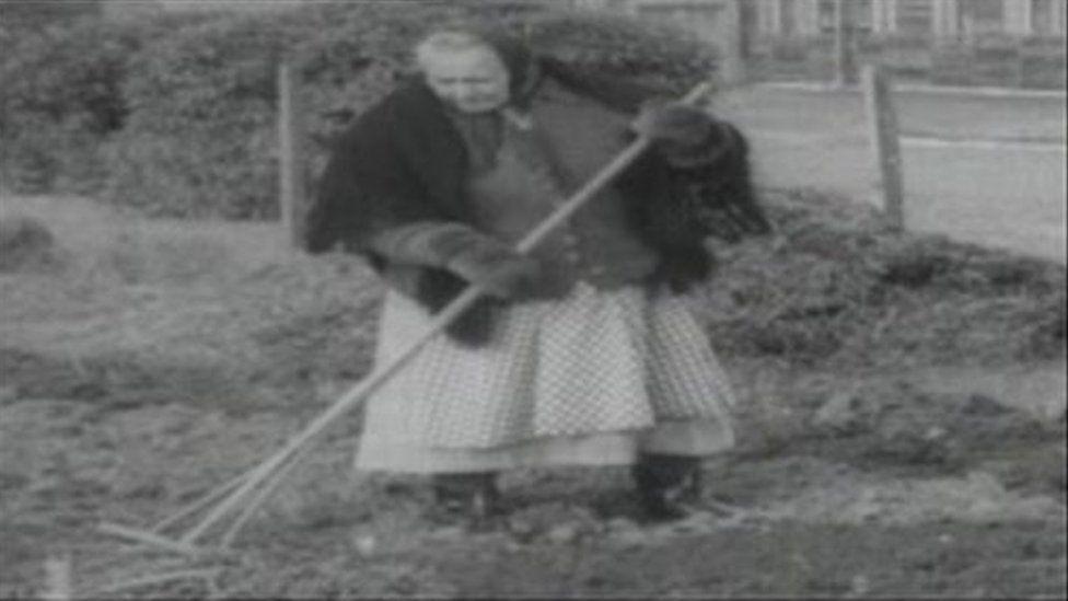 From 1965 - Polish woman gardens at Penrhos