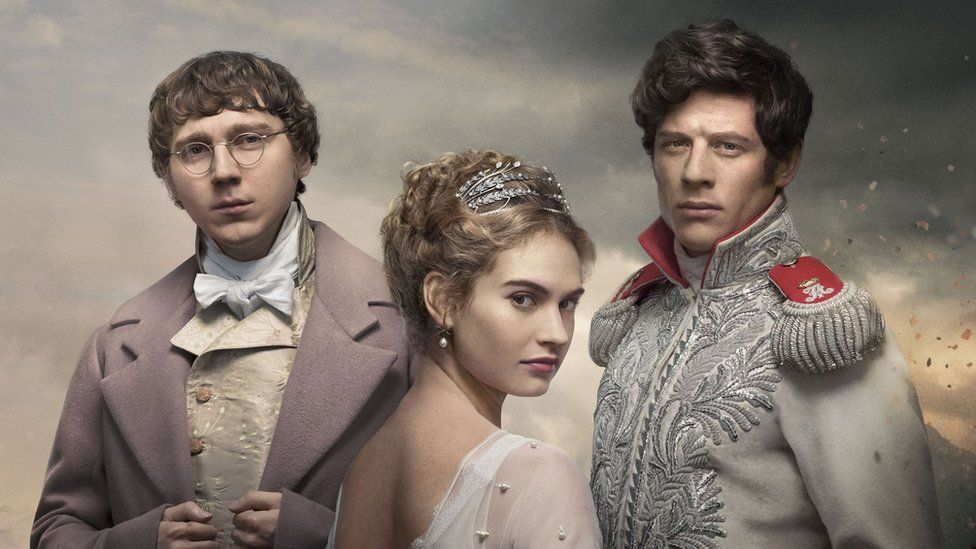 Paul Dano, Lily James and James Norton in War and Peace