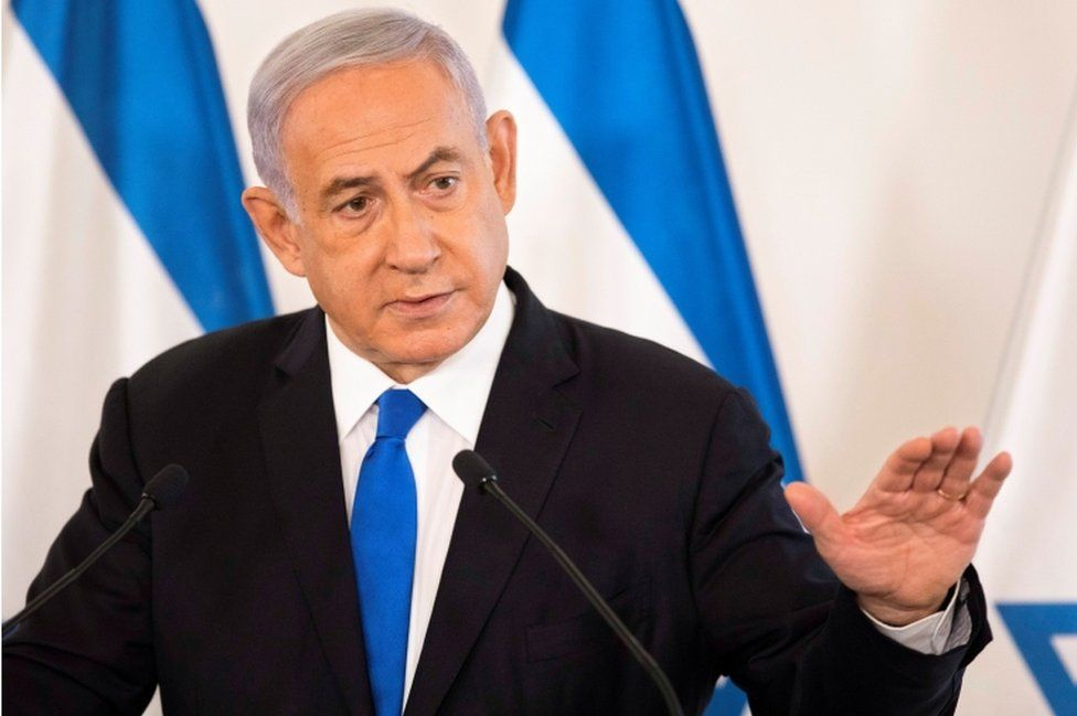 Israeli Prime Minister Benjamin Netanyahu pictured during a briefing to ambassadors to Israel in Tel Aviv on May 19, 2021.