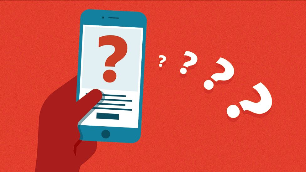Illustration of a quiz on a mobile phone
