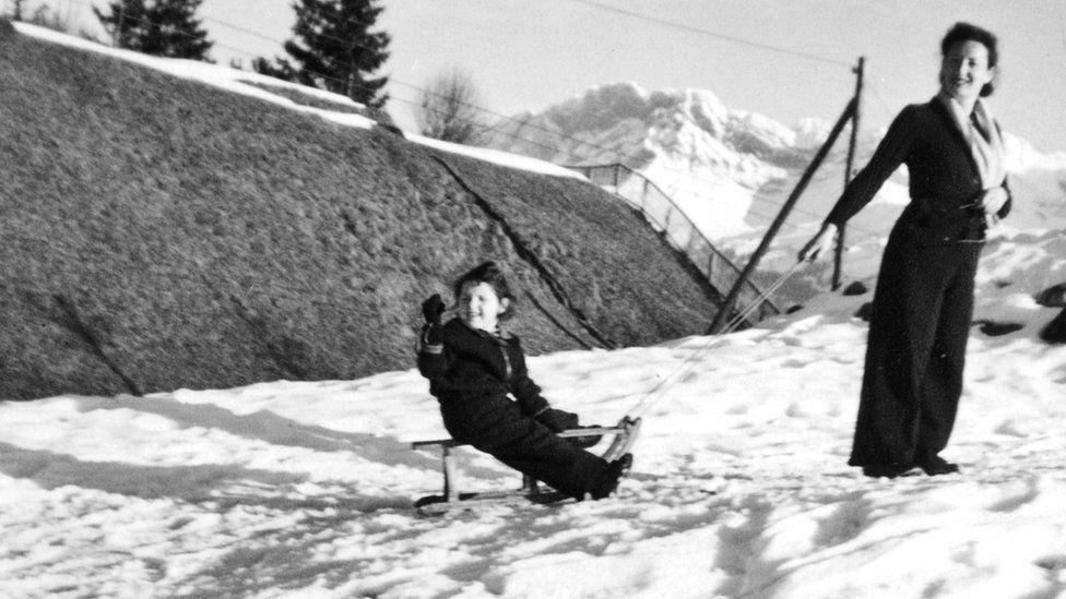 Eva and Anita in the mountains in Villars, Switzerland, winter 1940