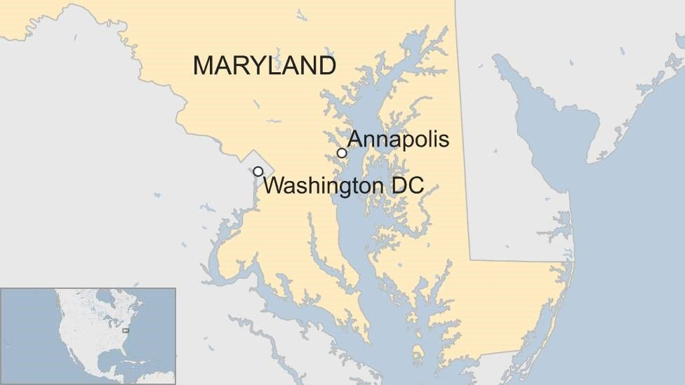 Map showing Annapolis in Maryland