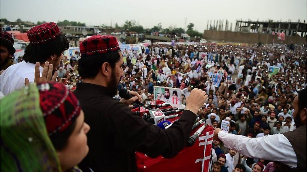 Pashtun Protection Movement demonstrators gather at a public rally in Peshawar on April 8, 2018.