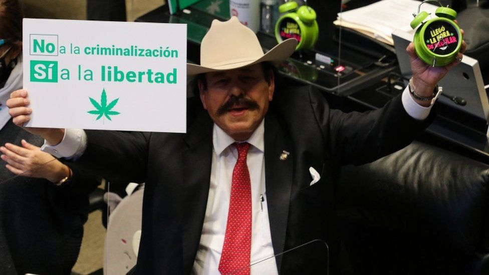 Senator Armando Guadiana celebrates the passing of a bill to legalise adult-use cannabis, in Mexico City, Mexico
