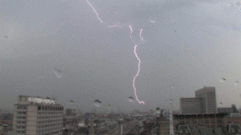 Lightning strike in central London