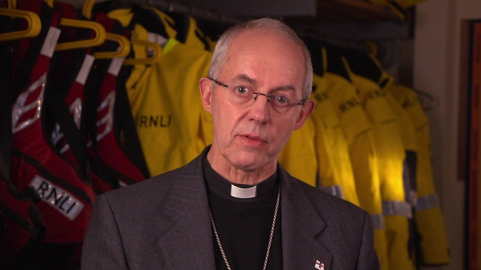 Justin Welby at Dover lifeboat station