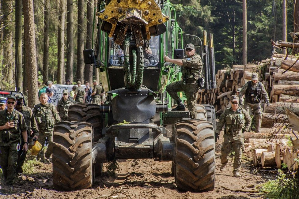 Logging machinery and workers in Bialowieza Forest in Poland