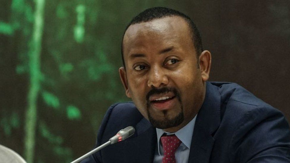 Ethiopias Prime Minister Abiy Ahmed speaks during the launch of his green legacy initiative, the nationwide environmental campaign to plant billions of trees, at a hall of Prime Ministers office temporarily transformed into a green garden in Addis Ababa, Ethiopia, on May 18, 2021