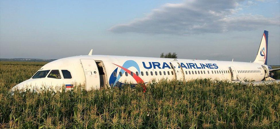 Russian jet after crash-landing, 15 Aug 19