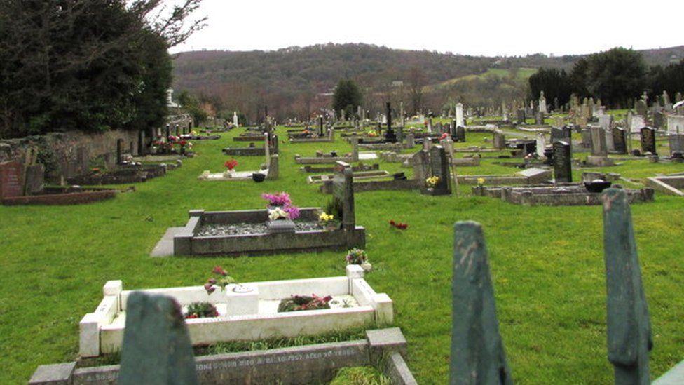 Southeast side of Hope Old Cemetery, Flintshire