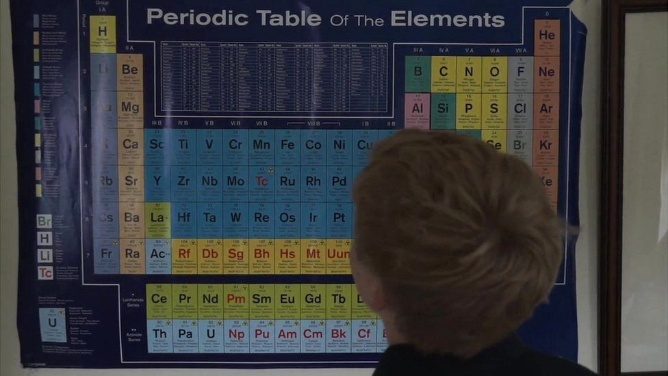 Tristan looking at periodic table