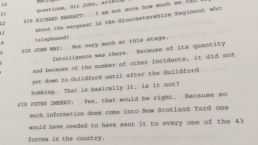 Transcript of Sir Peter Imbert's hearing at the John May inquiry