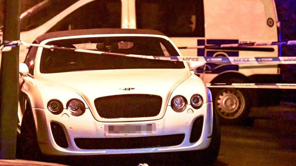 The Bentley at the scene of the crash