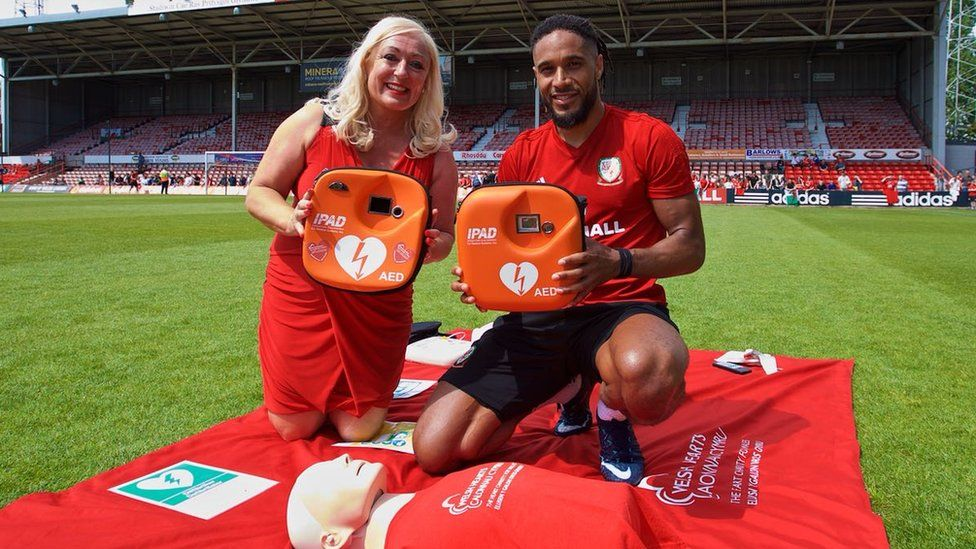Wales captain Ashley Williams and Welsh Hearts director Sharon Owen