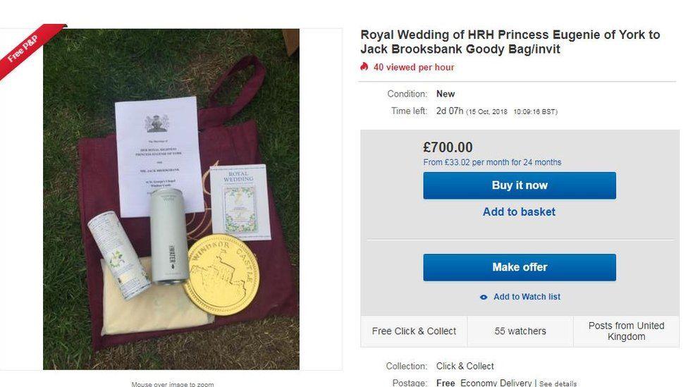 eBay listing for gift bag