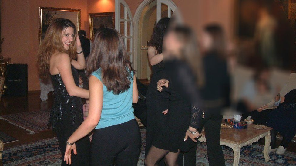 Feranak Amidi at a party in Iran