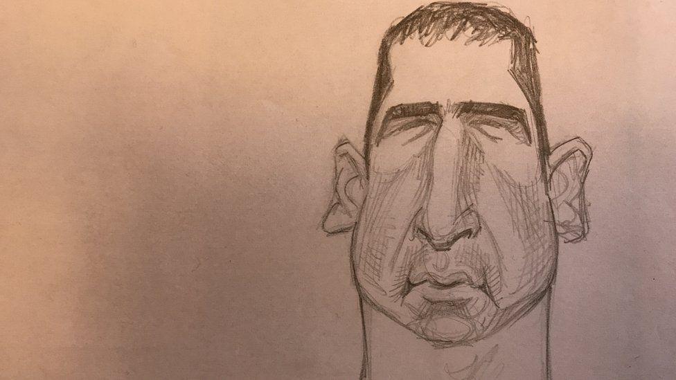A pencil sketch of French footballer Eric Cantona