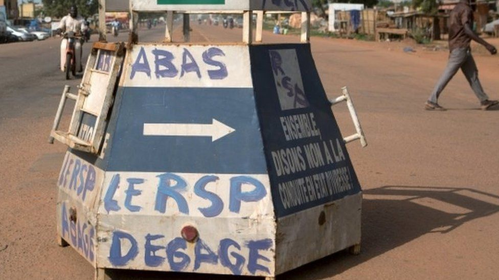 """Graffiti reading """"Down with RSP (Regiment of Presidential Security), get out"""" is seen in Ouagadougou, Burkina Faso, September 17, 2015"""