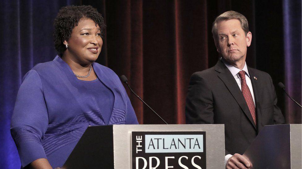 Georgia gubernatorial candidates (L-R) Democrat Stacey Abrams and Republican Brian Kemp