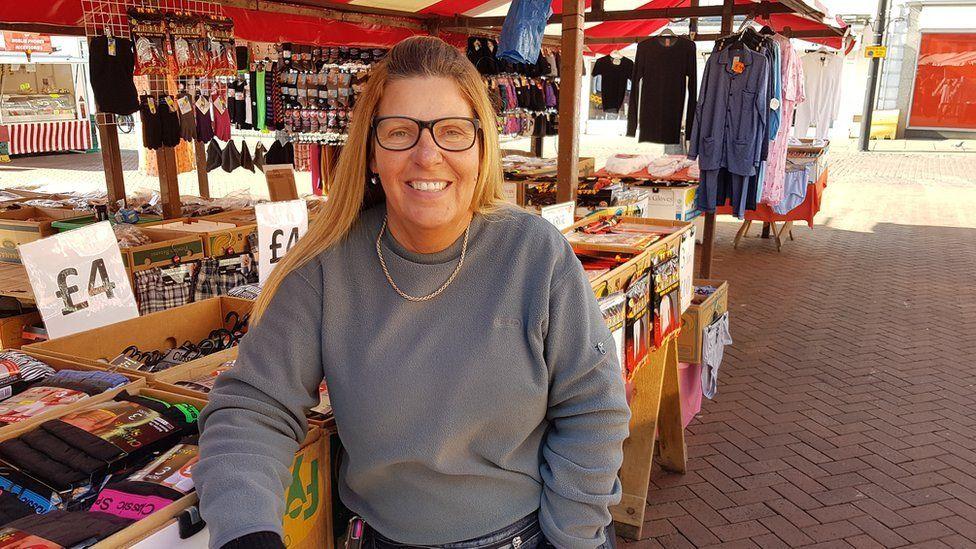 Lesley McDonald on her underwear stall at Northampton market