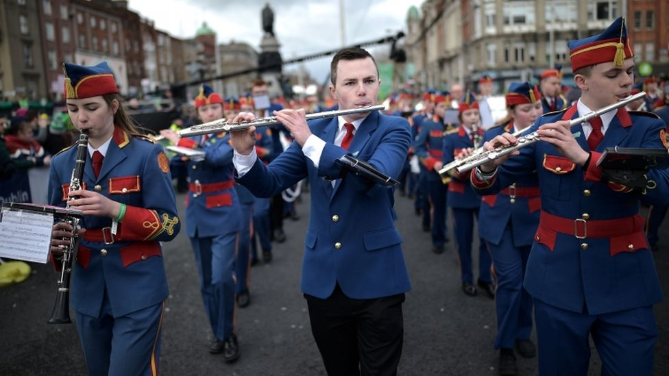 Members of the Artane Band in Dublin's annual parade