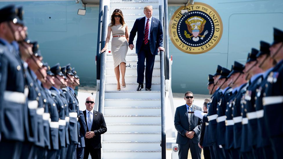 Donald and Melania Trump arrive in the UK in 2018
