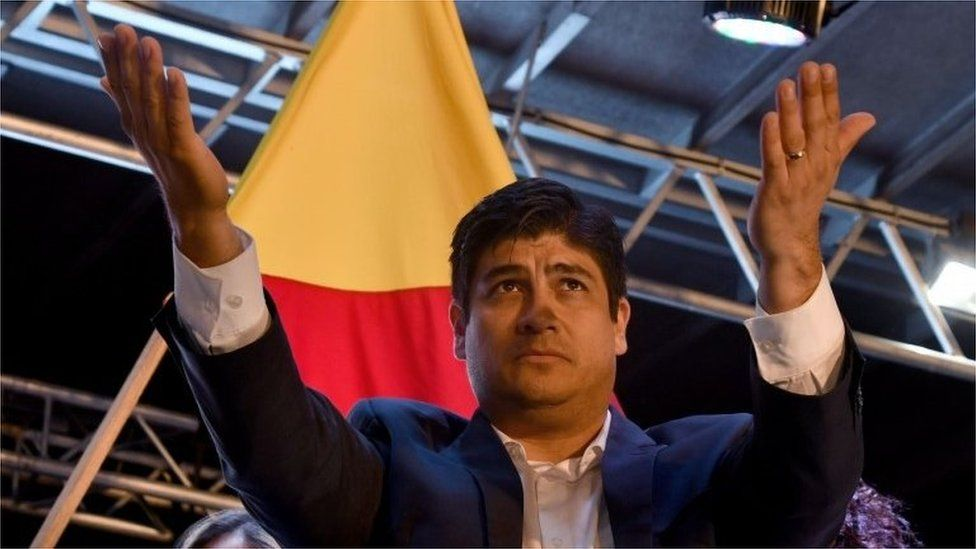 Presidential candidate of Costa Rica's governing Citizen Action Party (PAC), Carlos Alvarado, celebrates victory in San Jose on April 01, 2018.