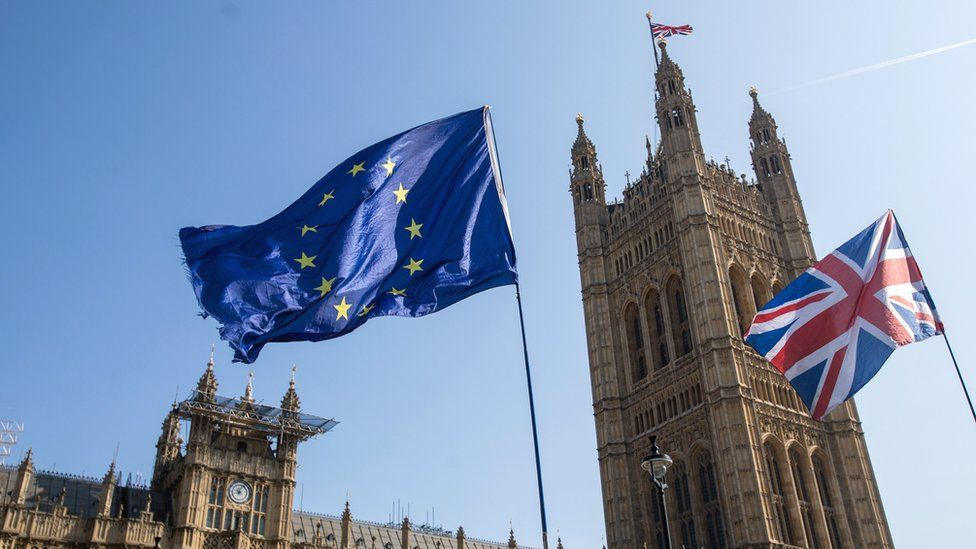 EU and UK flags fly outside the Houses of Parliament in London