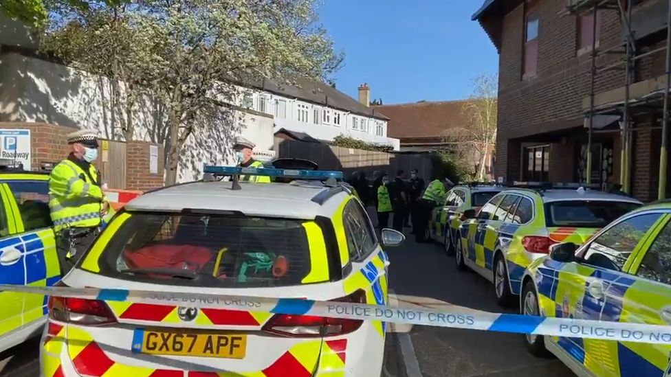 Surrey Police officers have been on the scene most of the afternoon