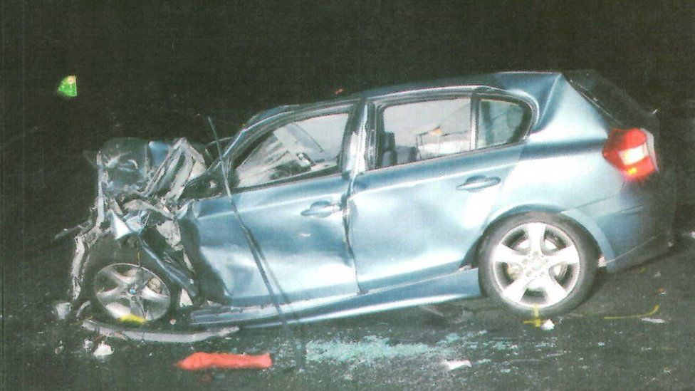 The crashed BMW