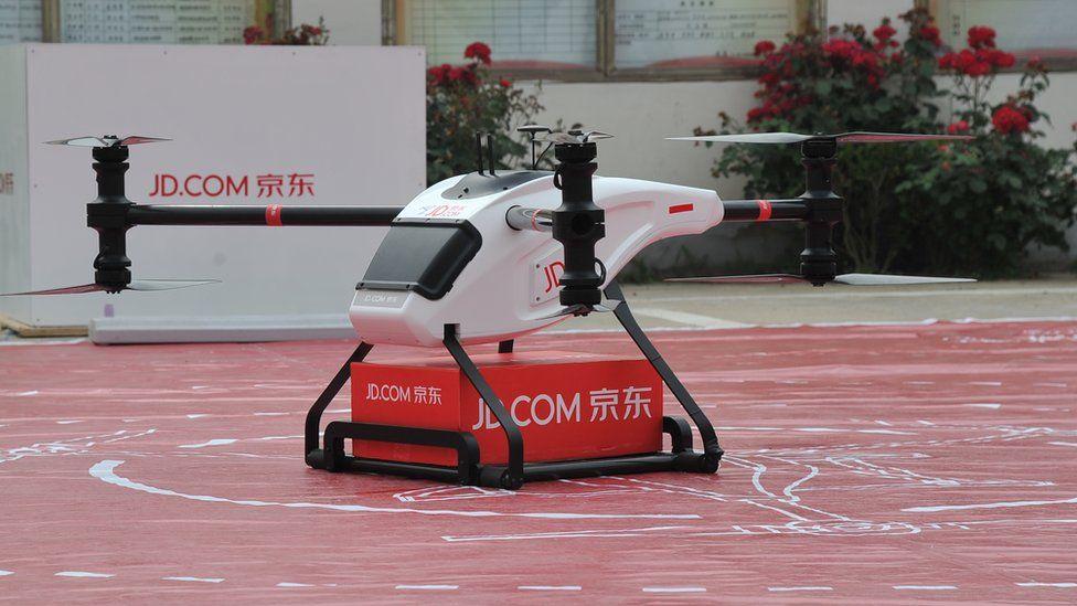 A JD.com drone lands in Jiangsu Province, China in June 2016