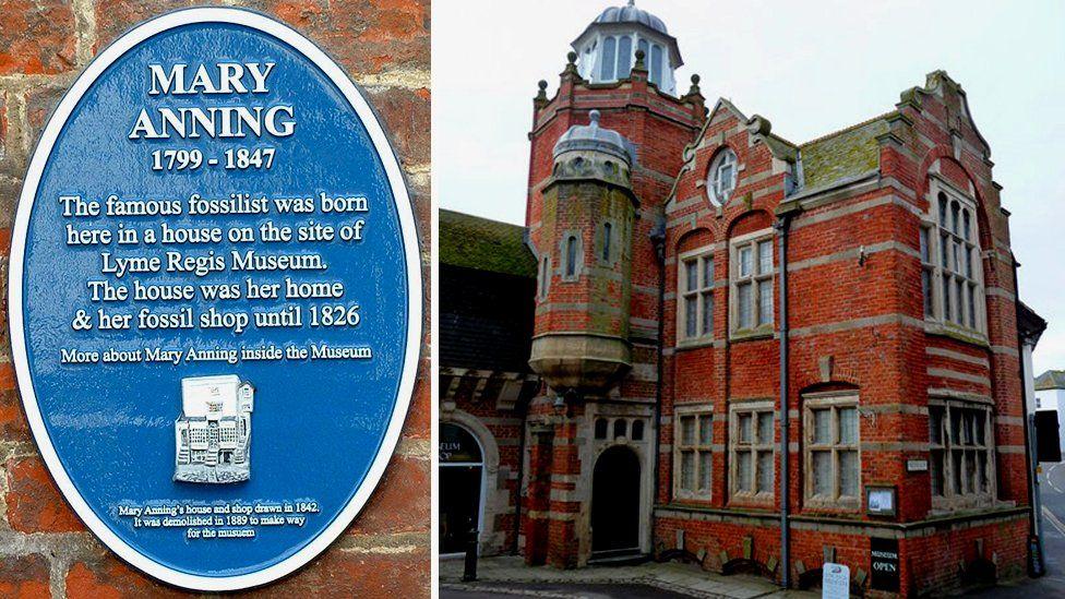 Blue plaque on Lyme Regis Museum and the original Lyme Regis Museum building