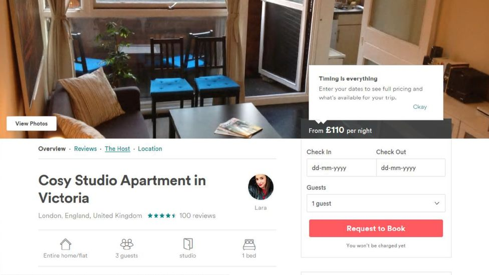 """Toby Harman posed as """"Lara"""" to sub-let his studio apartment on Airbnb"""