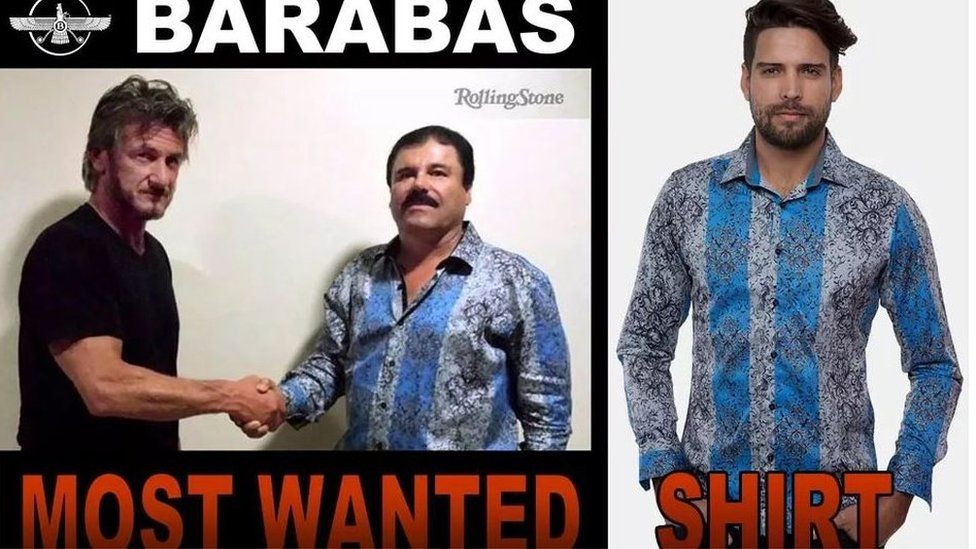 "A screen grab of the website of Barabas clothing retailer showing a shirt favoured by Mexican drug lord ""El Chapo"" Guzman"