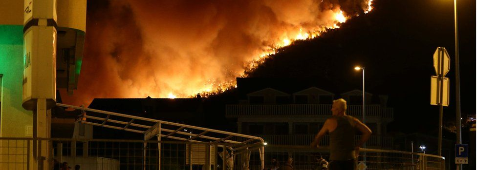 This was the scene at Stobrec, east of Split on Monday night