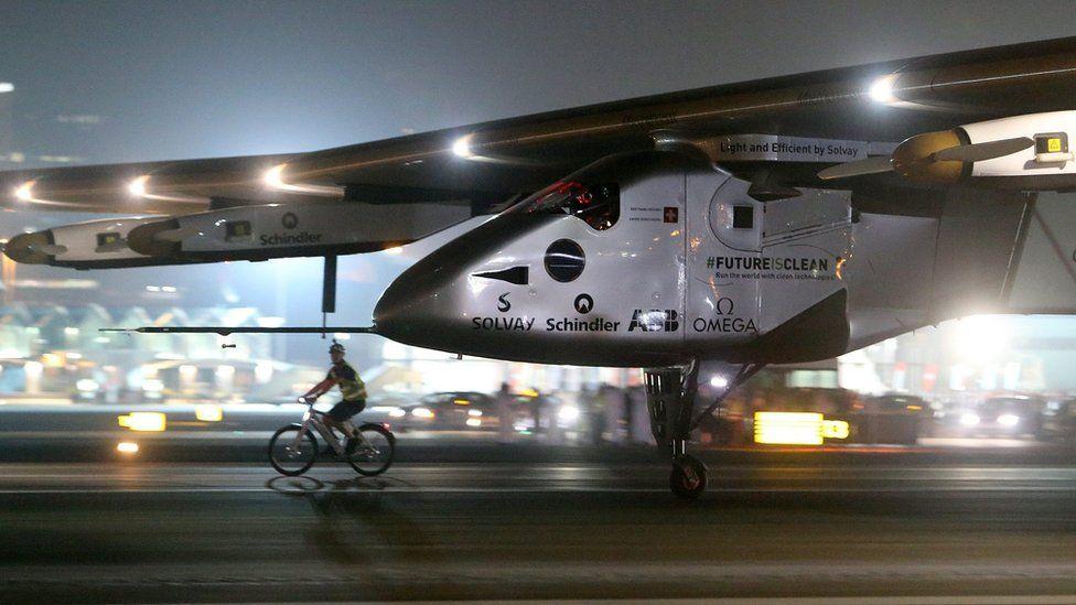 Solar Impulse touches down at Al Bateen Executive Airport