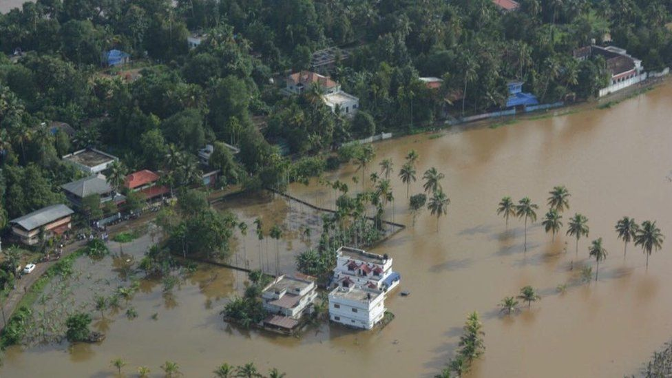 An aerial view of the extent of flooding in Kerala