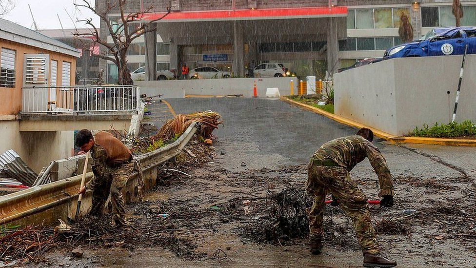 British troops clearing a road in BVI