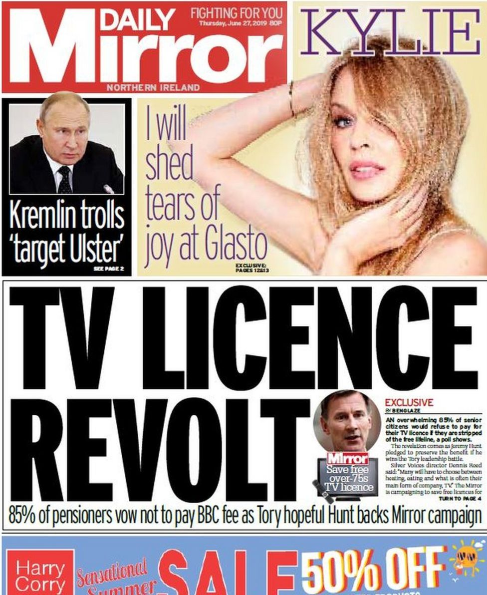 NI paper review: Paisley reaction and TV licence campaign