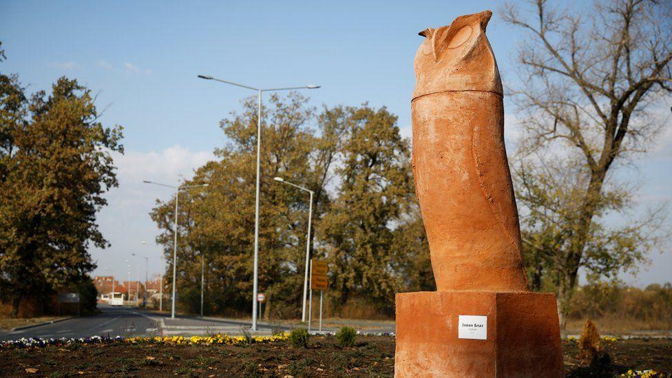 Owl statue in Kikinda, Serbia