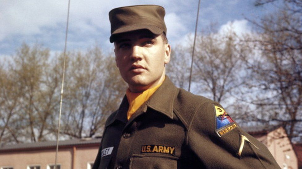 US Army Private First Class Elvis Presley at Grafenwoehr Training Grounds, Bavaria in 1958