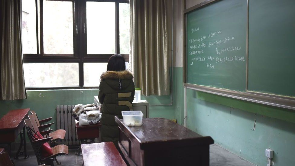 This picture taken on January 17, 2018 shows a female student in a classroom at Beihang University in Beijing.